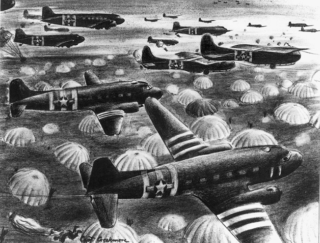 Hundreds of parachutes billow as airborne troops descend on Normandy during the opening hours of D-Day.
