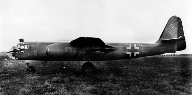 Photographed at an airfield in Germany, this Arado Ar-234 V13 is representative of the 13th prototype of the aircraft and the variant that set the production standard for the twin-engine jet bomber.