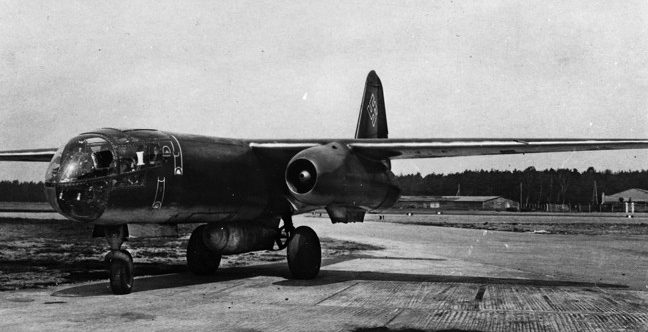 Taken on March 15, 1944, this frontal view of an Arado Ar-234 V9 reveals the placement of a 1,000-pound bomb carried externally along the center line of the plane's fuselage.