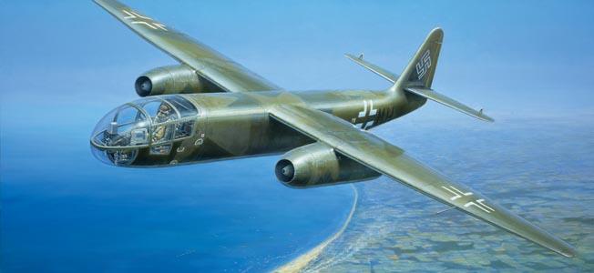 Oberleutnant Erich Sommer pilotea un bombardero Arado Ar-234 V7 sobre Normandía en esta pintura de Barry Spicer.  Sommer estuvo involucrado en el desarrollo y prueba de los aviones a reacción avanzados.