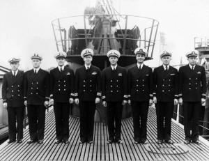 Offers of the submarine USS Archer-Fish pose for a photograph on deck during commissioning ceremonies at New Hampshire's Portsmouth Navy Yard on September 4, 1943.