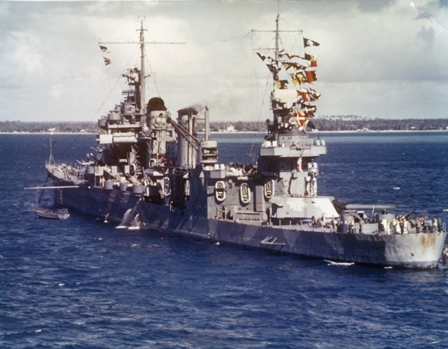 This rare color photo shows the cruiser USS Quincy at Noumea, New Caledonia, on August 3, 1942, just four days prior to the U.S. invation of Guadalcanal.