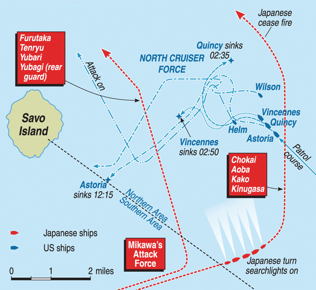 Surprised by a strong Japanese naval force less than a week after American Marines had landed on Guadalcanal , four Allied cruisers were lost in the debacle of the Battle of Savo Island.