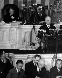 President Harry Truman addresses a joint session of Congress on April 16, 1945, the first such address since the death of President Franklin D. Roosevelt. Truman promised a relentless prosecution of the war.