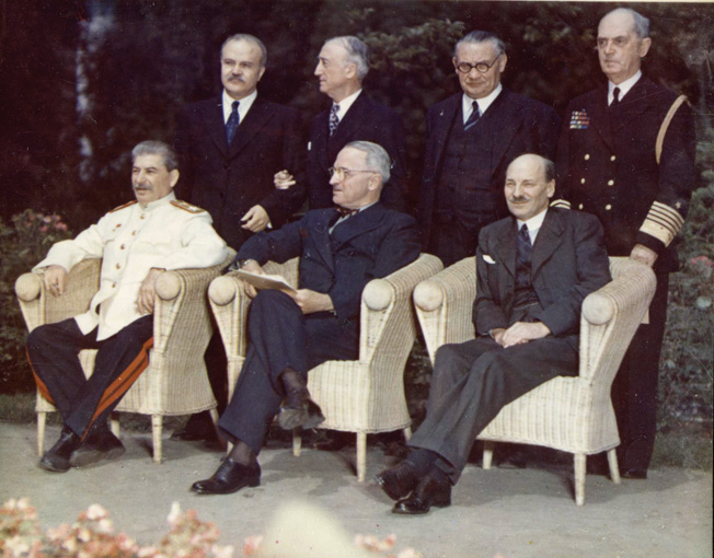 The Big Three at the Potsdam Conference in 1945 included (seated left to right) Soviet Premier Josef Stalin, U.S. President Harry Truman, and British Prime Minister Clement Attlee.