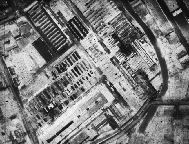 This Royal Air Force reconnaissance photo of the MAN diesel engine plant at Augsburg was used by the planners of the dangerous low-level raid by RAF Avro Lancaster bombers against the facility in the spring of 1942.