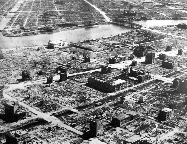 Several square miles of Tokyo were burned to the ground in the U.S. firebomb raid of March 9-10, 1945, and this photograph gives some indication of the extent of the damage to the city.