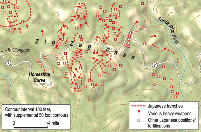 The strong Japanese defensive positions at Zig Zag Pass took full advantage of the rugged jungle terrain. The defenders contested every yard along the American route of advance.