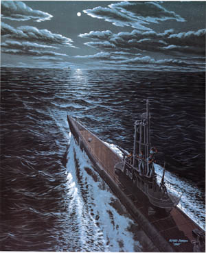 """The amazing feat of sinking three Japanese submarines is commemorated in this painting by artist Alfred Johnson titled """"Batfish gets a hat trick."""""""
