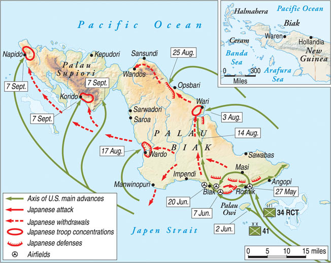 Throughout the month of June, American forces battled Japanese defenders on the island of Biak. The Japanese had fortified a labyrinth of caves, and many fought to the death rather than surrender.
