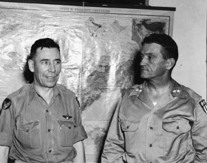 Maj. Gen. Clayton Bissell (left), commander of the U.S. Tenth Air Force, and Maj. Gen. Claire Chennault (right) were bitter rivals. This meeting at Tenth Air Force headquarters in Delhi, India, was strained.