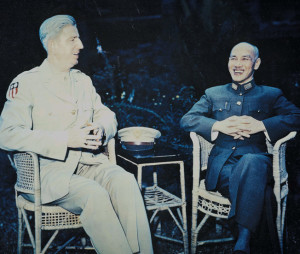 Lt. Gen. Albert C. Wedemeyer, overall Allied commander in China and chief of staff to Kuomintang leader Chiang Kai-Shek, chats with the Generalissimo.