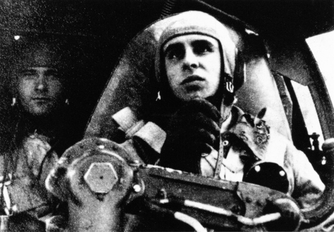 Luftwaffe Lieutenant Karl-Heinz Thurz pilots a Heinkel He-111 bomber during an air raid on Great Britain. Originally developed under the guise of a passenger airline, the He-111 was a workhorse of the German bomber force.