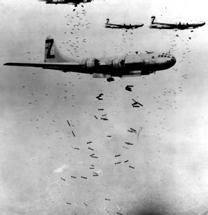 U.S. Boeing B-29 Superfortress heavy bombers rained destruction on major Japanese cities.