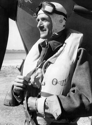 Shown in flight gear before taking off from an airfield on the island of Malta, Air Vice Marshal Sir Keith Park, a New Zealander, played a prominent role in managing Britain's fighter defenses against the onslaught of the German Luftwaffe.