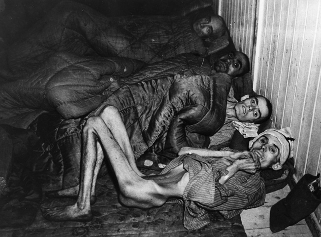 The emaciated condition of the inmates liberated at Buchenwald shocked American soldiers. This Hungarian Jew was starved to such an extent that his backbone is visible from the front of his body.