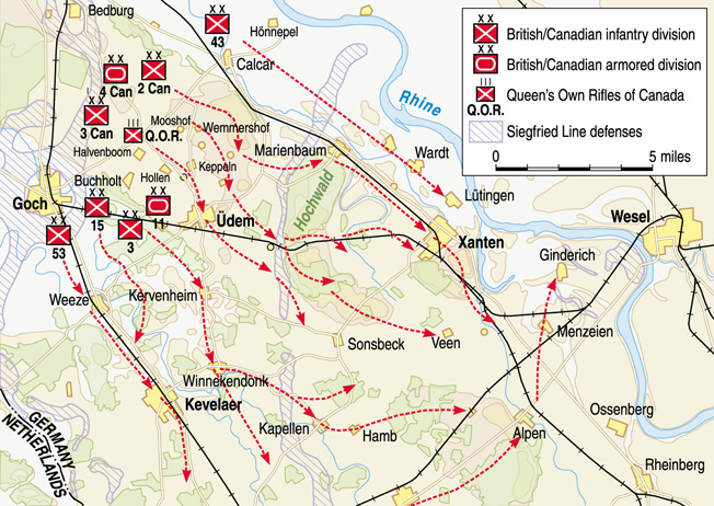 A five-hour artillery barrage signaled a renewed Canadian offensive toward the Rhine on February 8, 1945. During the prior three months, the Queen's Own Rifles of Canada had received new troops to replace losses sustained since D-Day.