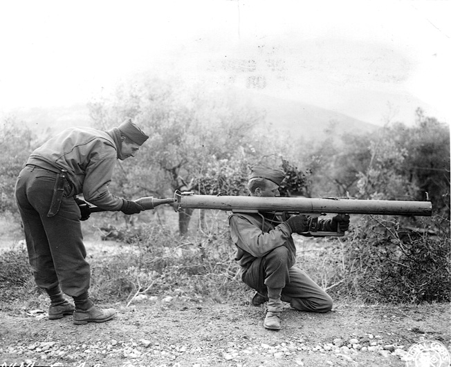 Americans try out a German antitank weapon in Ceppagna, Italy, in January 1944.