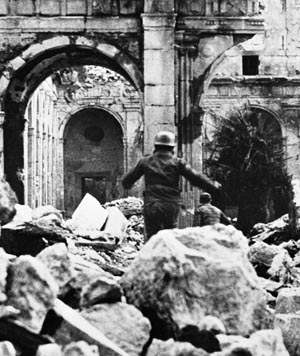 After the monastery was bombed, German paratroopers moved into the ruins, which proved to be useful for defensive operations.