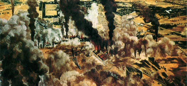 The attack on the Philippines is starkly depicted in this captured Japanese painting.