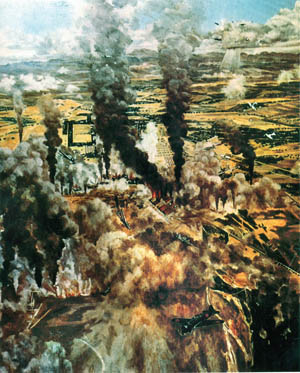 A Japanese war artist captured an air attack against American and Filipino installations on December 8, 1941.