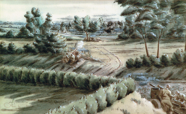 A German war artist depicted this scene of field artillery in action against the advancing Allies on the Cotentin Peninsula. One of the principal objectives of the Allied forces in the weeks following the June 6, 1944, D-Day landings was to cut off the peninsula, trapping the German troops still resisting there, and then taking the port city of Cherbourg.