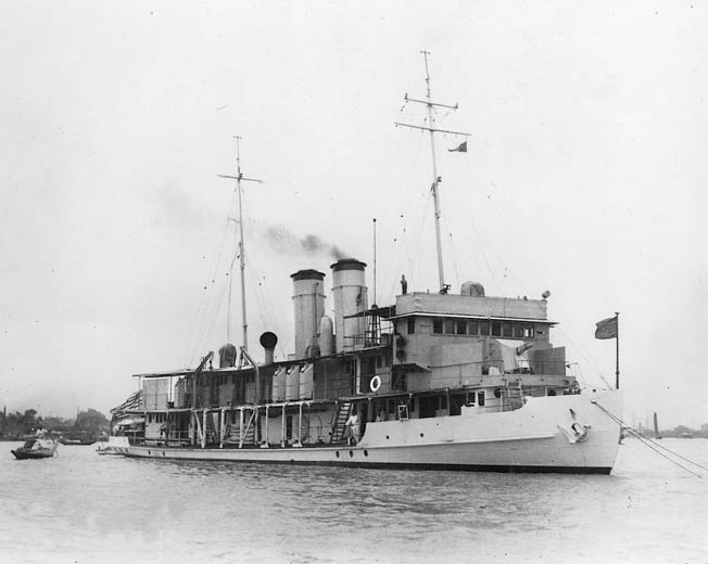 The American gunboat USS Panay on patrol on China's Yangtze River. The boat had clear American markings, so the attack could not have been the result of mistaken identity.