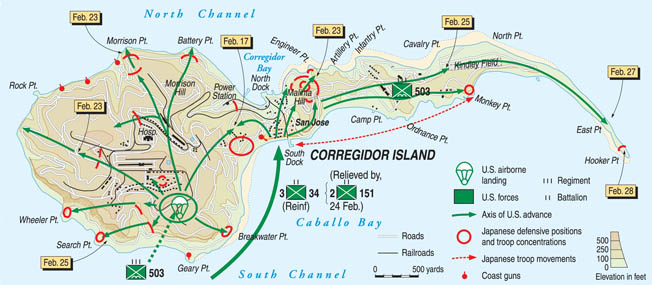 Shaped like a tadpole and studded with fortifications that predated World War I, Corregidor was also reinforced with defensive positions prepared by the Japanese. The American parachute assault on the island in 1945 was accompanied by an amphibious landing.