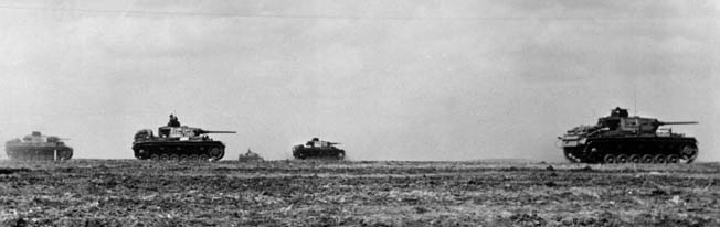 Tanks advancing in the battlefield. Kerch, May 1942