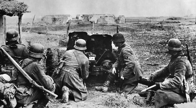A German antitank crew mans its weapon against a renewed Soviet onslaught launched in the Crimea in April 1942. German antitank guns such as this took a fearful toll on the Red Army drive and stopped the offensive in its tracks.
