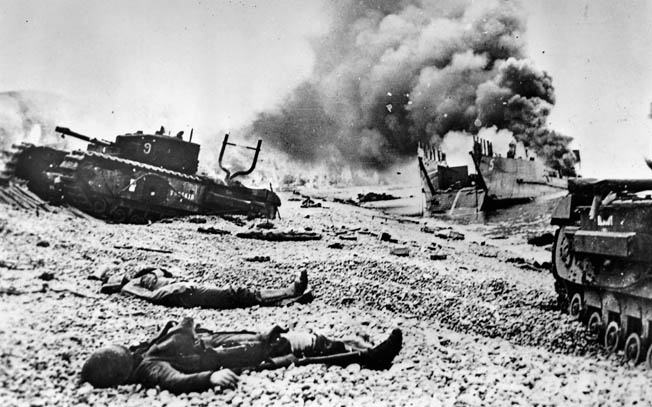 The aftermath of the Dieppe Raid on August 19, 1942.