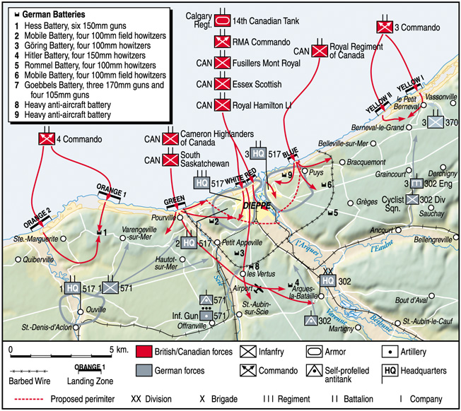 The Canadian landings at Dieppe took place at several points along the French coastline. German units were unable to respond quickly enough, giving the Canadians an upper hand.
