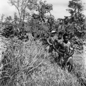 Elements of the 1st Papuan Infantry Battalion, with an Australian sergeant along for the patrol, trudge through the high grass of the New Guinea jungle in July 1944.