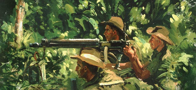 In this painting by war artist Henry Hanke, the Australian crew of a Vickers machine gun engages Japanese troops near Madang, New Guinea, in April 1945