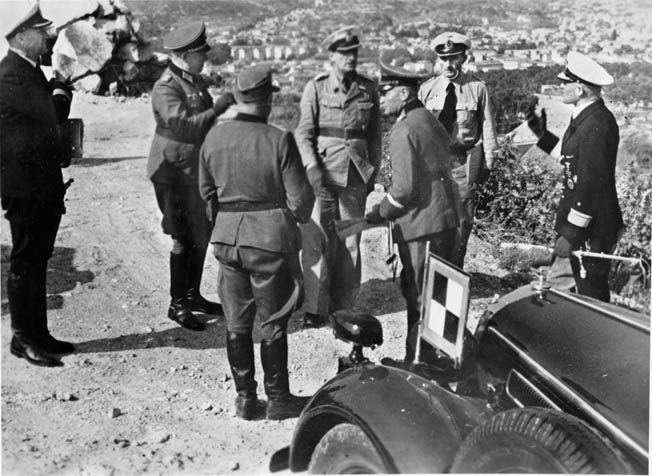After being blistered by Field Marshal Rommel for neglecting coastal defenses along the Riviera, General Johannes Blaskowitz (center), commander of Army Group G, inspects German positions, June 1944.