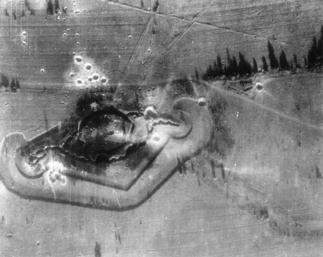 This aerial view of Fort Driant shows some of the damage inflicted in the wake of an attack by the 9th Air Force P-47 Thunderbolt fighter bombers on September 28, 1944.