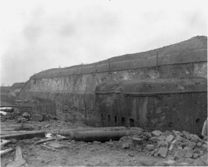 The battle-scarred bastion of Fort Driant is shown following the bitter contest to wrest its control from the Germans.