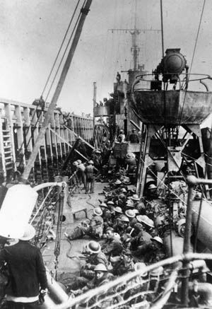 With little time to spare, the British showed great ingenuity in evacuating their troops; for example, oceangoing ships loaded troops directly from the East Mole.