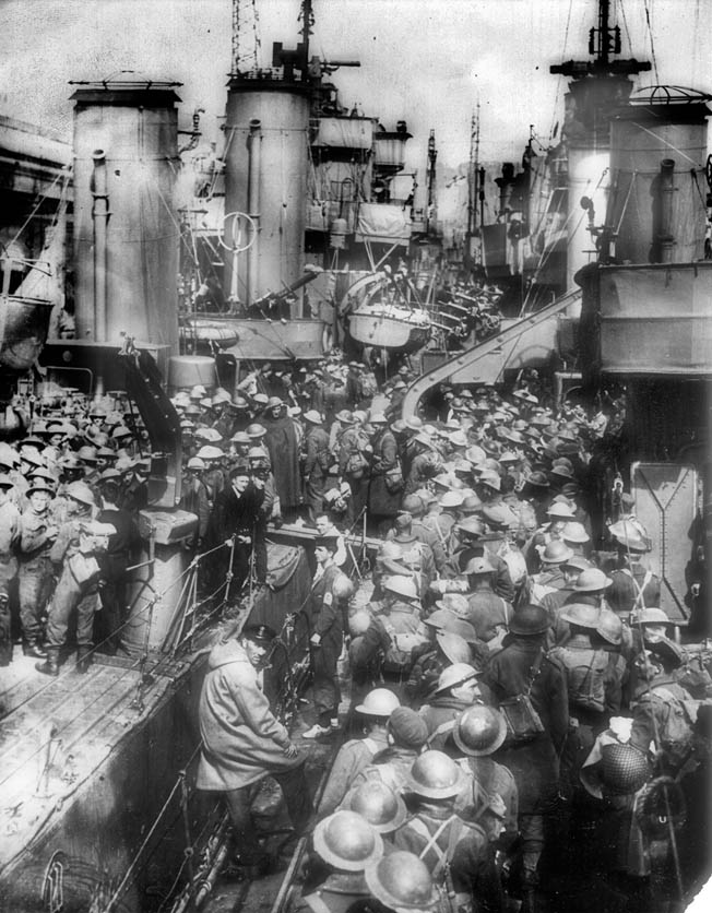 British troops arriving in Dover, England, receive a warm welcome from their fellow countrymen.