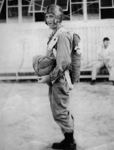 Bill Bowser on his fifth practice jump in 1942.