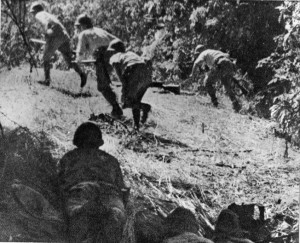 Japanese soldiers crouch forward as they advance through the Philippine jungle during operations in December 1941.