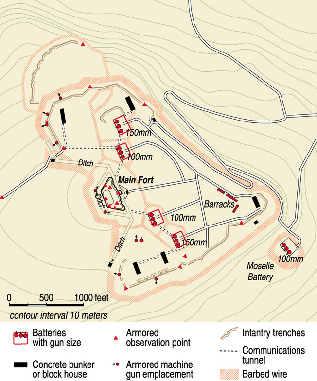 This detailed map of the fort's defenses offers some idea of the difficulty in capturing it.