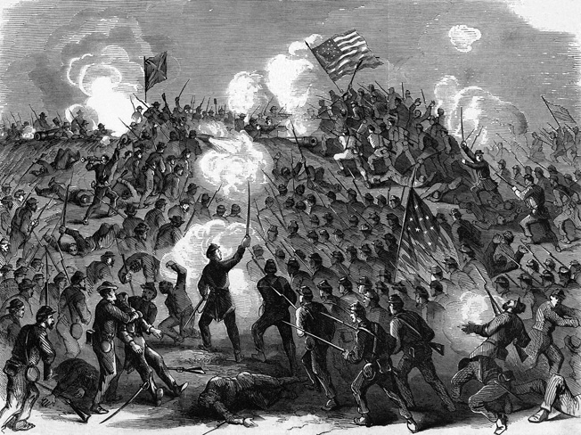 The desperate nature of the assault on Fort Wagner that occurred at dusk on July 18, 1863, is captured in a period illustration. The 54th Massachusetts suffered approximately 50 percent casualties.