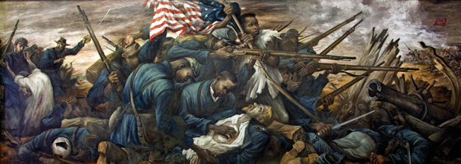 Soldiers of the 54th Massachusetts tend to Colonel Robert Gould Shaw's lifeless body in a modern mural painted by Carlos Lopez. As he mounted the parapet of Fort Wagner, Gould was shot several times in the chest.