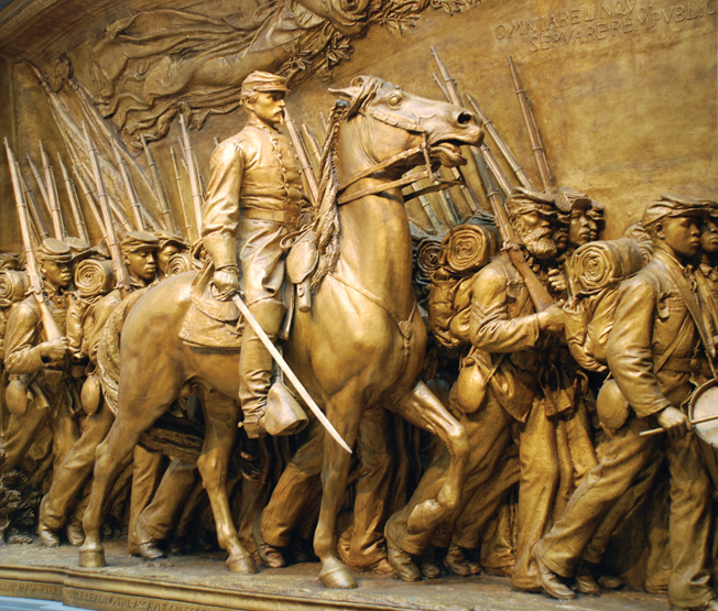 The Robert Gould Shaw Memorial in Boston immortalizes the colonel and the 54th Massachusetts by capturing the time in May 1863 when they marched down Beacon Street.