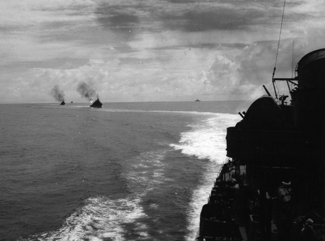 The destroyers USS Fletcher, USS O'Bannon, and USS Strong participate in gunnery exercises off the coast of the island of Espiritu Santo prior to engaging the Japanese fleet off Guadalcanal.