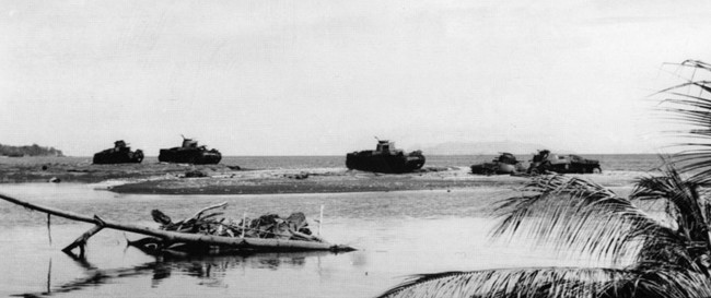 ABOVE: On the night of October 23, 1942, the Japanese attacked Marine positions on Guadalcanal with lightly armored tanks. The Japanese tanks fell victim to American anti-tank weapons. Nine of them were lost, and this photo of the battle scene was taken the next day.