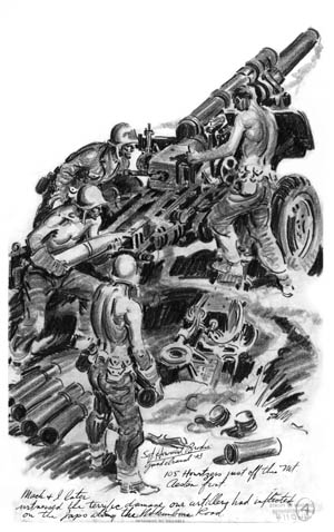 Sergeant Howard Brodie drew this sketch of brawny U.S. Marines servicing their 105mm howitzer on Guadalcanal. The 105mm howitzer was the backbone of the Marine artillery, and its accurate fire took a heavy toll against the Japanese during their efforts to dislodge the Americans from critical positions surrounding Henderson Field.