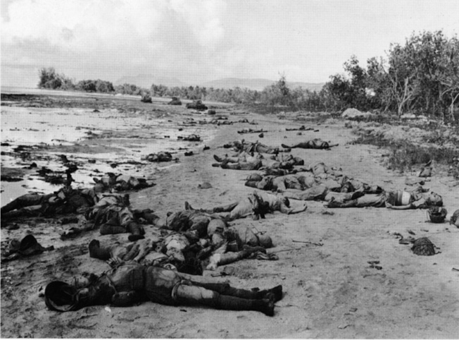 Following their abortive attack of October 23, the bodies of dozens of Japanese soldiers lie unburied along the beach at Guadalcanal.