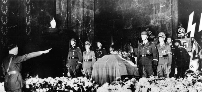 Reinhard Heydrich, the brutal Reich Protector of Bohemia and Moravia, was given a lavish Nazi state funeral in June 1942. In this photo, Adolf Hitler extends a Nazi salute.